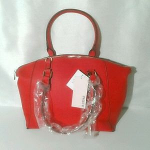 JUST FAB Large Red Faux Leather Bag NEW!